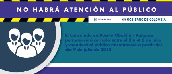 Consulado en Puerto Obaldía no atiende al público del 3 a 6 de julio