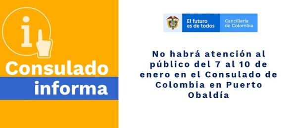 No habrá atención al público del 7 al 10 de enero en el Consulado en Puerto Obaldía