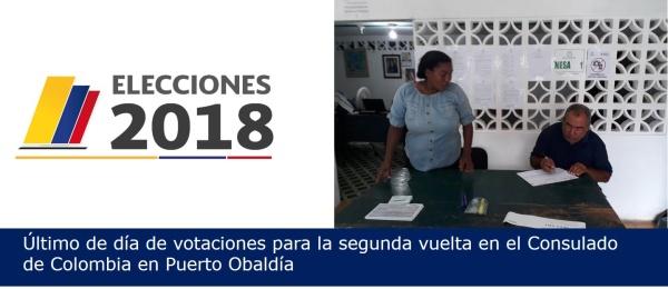 Último de día de votaciones para la segunda vuelta en el Consulado de Colombia en Puerto Obaldía