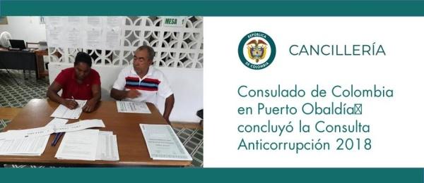 Consulado de Colombia en Puerto Obaldía concluyó la Consulta Anticorrupción 2018