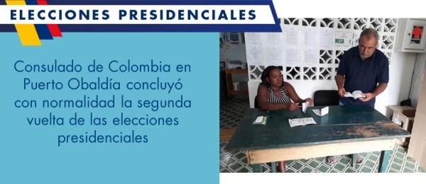 Consulado de Colombia en Puerto Obaldía concluyó con normalidad la segunda vuelta de las elecciones presidenciales