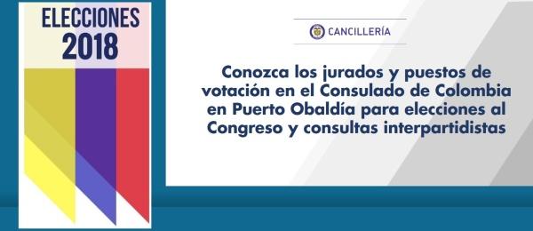 Conozca los jurados y puestos de votación en el Consulado de Colombia en Puerto Obaldía para elecciones al Congreso y consultas interpartidistas